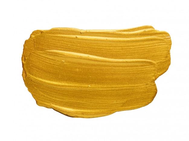 ゴールドアクリル水彩絵の具ブラシストロークフリーハンド描画テクスチャ