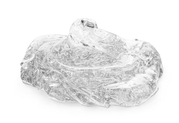 白い背景に灰色のゲルクリームの化粧品の泡
