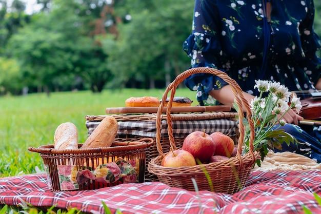 Одеяло для фруктового пикника и скрипка в парке.