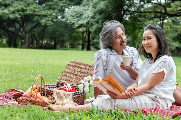 Азиатские старшие пары читая книгу и пикник на парке.