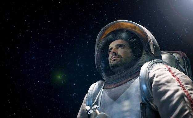 無限の空間を見ている宇宙飛行士の肖像