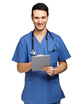 男性、看護婦、白、デジタル、タブレット