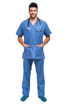男性、看護婦、白、全身、長さ