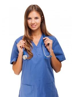 Портрет медсестры, изолированный на белом