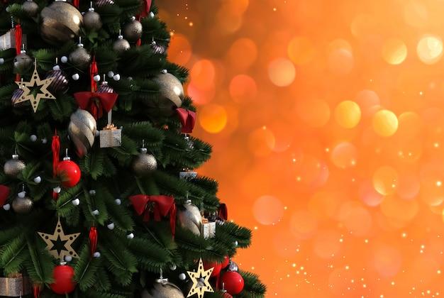 Новогодняя елка на блестящем светящемся фоне