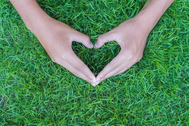 愛、バレンタインデー、世界の地球の日のコンセプト。手の形の心臓。