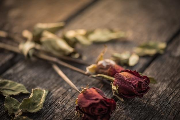 Высушенная красная роза на деревянном фоне с винтажным стилем. сломанный сердечный
