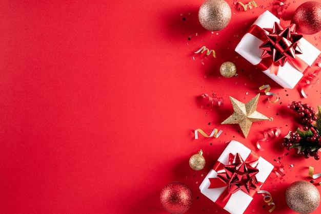 クリスマス装飾赤背景