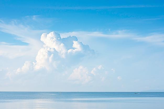 漁船が海を走り、空に雲が浮かんでいます。
