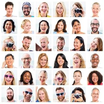 コラージュ多様な顔表現人々のコンセプト