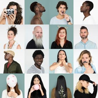 人々の肖像画のセット