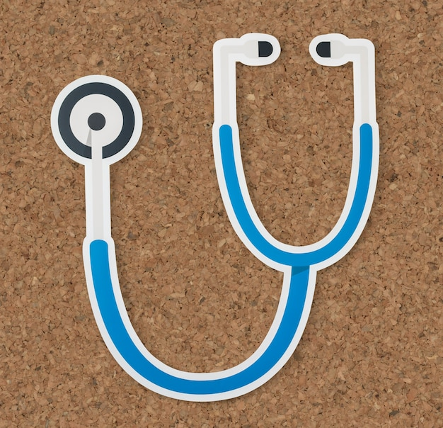 聴診器の健康と病院のアイコン