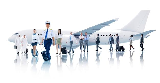 旅行のビジネスの人々キャビンクルー輸送飛行機のコンセプト