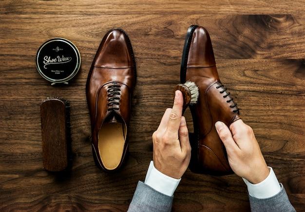 ビジネスマン、靴、掃除