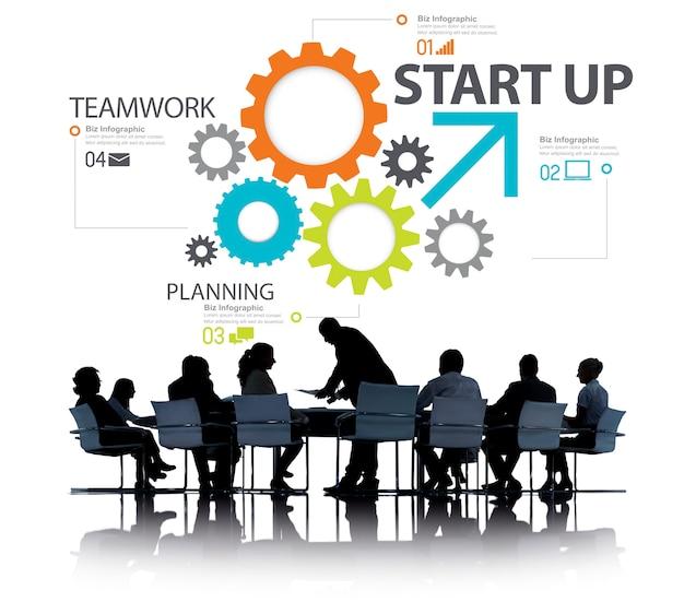スタートアップ新しいビジネスプラン戦略チームワークコンセプト