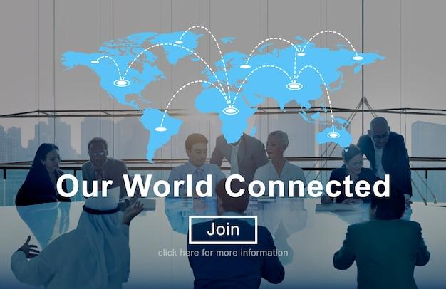 私たちの世界はソーシャルネットワーキングの相互接続のコンセプトにつながった