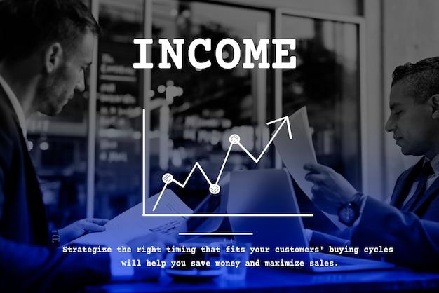 ビジネスライングラフ上向き矢印レポート