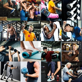 Разнообразные люди в сборнике изображений фитнес-зала