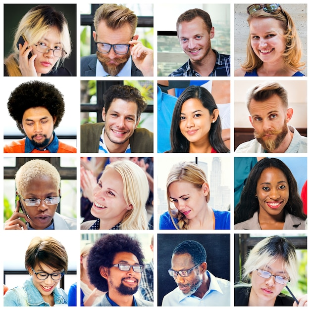 コラージュの多様な顔グループの人々のコンセプト