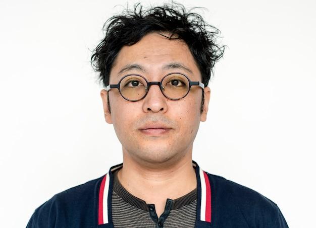 世界の顔 - 日本の男、白い背景に