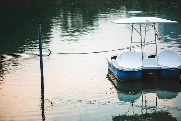 暗い湖の中のパドルボート