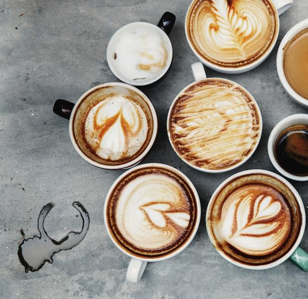 様々なコーヒーの航空写真