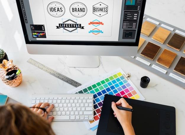 アイデアクリエイティブ職業デザインスタジオ描画スタートアップコンセプト
