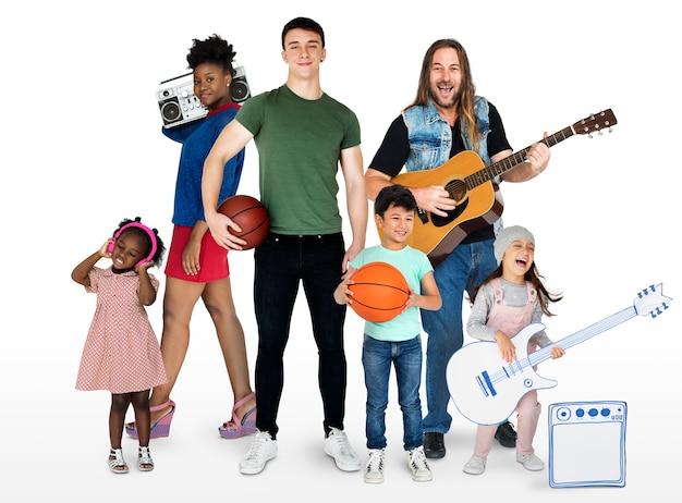 ホビー音楽スポーツセットスタジオとの多様性の人々