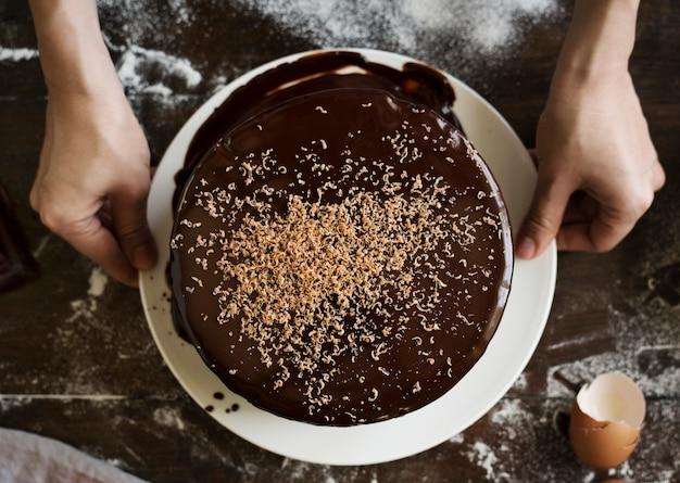 Идея рецепта пищей фотографии шоколадного торта