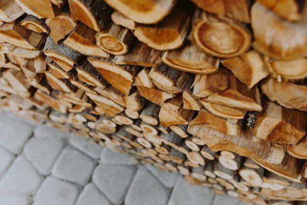薪のスタックテクスチャ背景