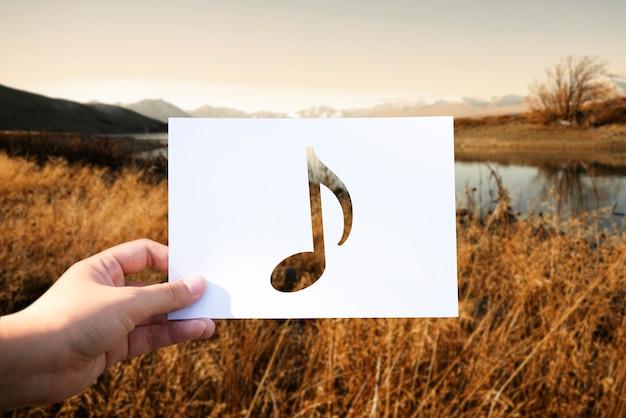 音楽の音が穿孔された音符