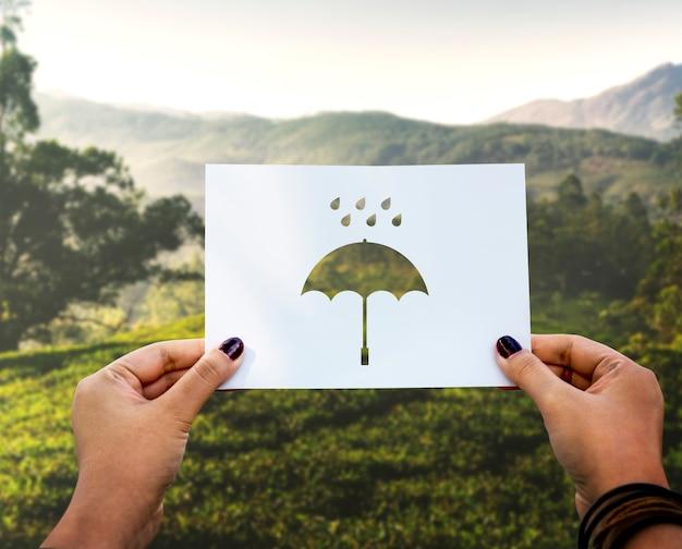 雨季の穴あき紙傘