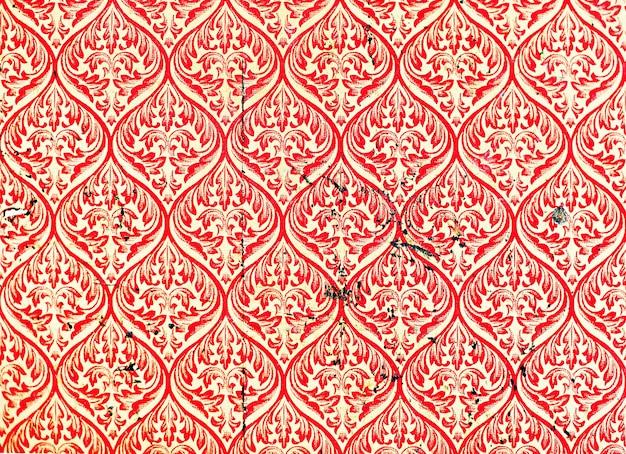 赤いアジアのパターンの壁紙