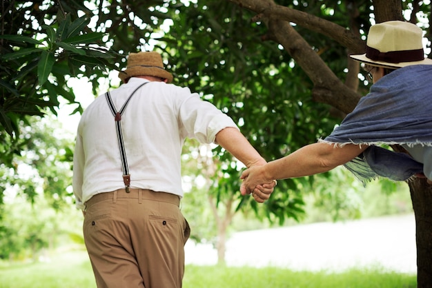 年配のカップルの幸福ロマンチックなパークのコンセプト
