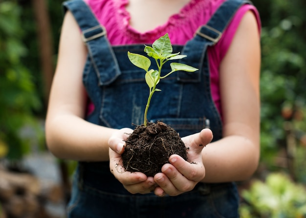 Маленькая девочка, держащая растение