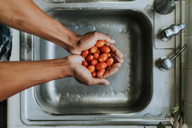 Чистые свежие помидоры утром