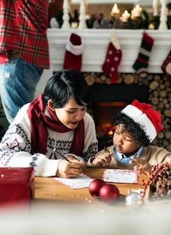 クリスマス休暇を楽しむ黒人の家族