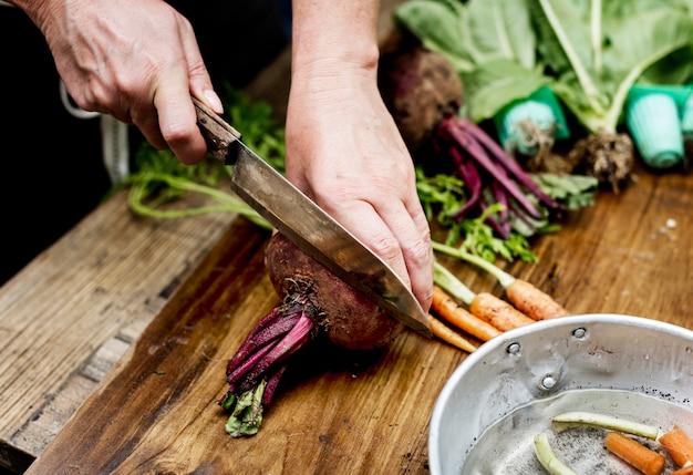 新鮮、野菜、ナイフ