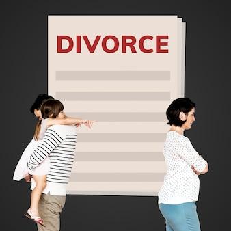 Разделенная семья, получающая развод