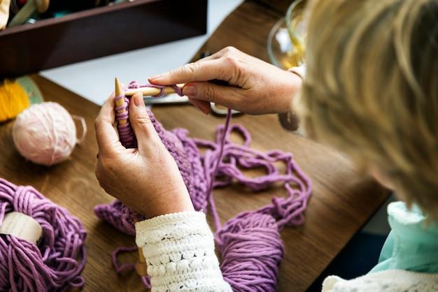 かぎ針編みのステッチ糸手作りフックコンセプト