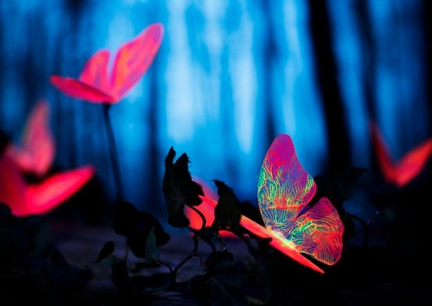 夜の森の中の輝く昆虫