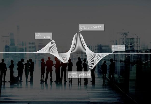 ダイアグラムグラフ情報統計ストックデータコンセプト
