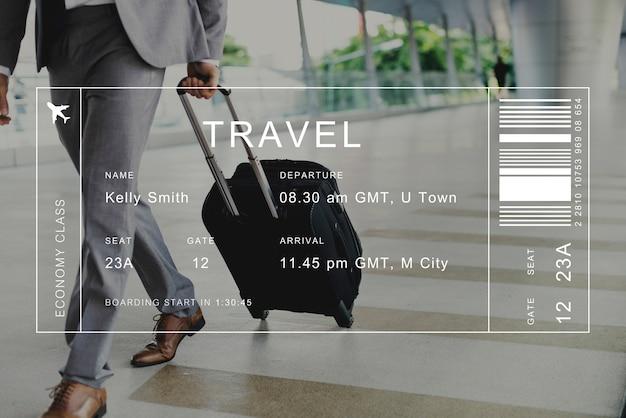 旅行者の背景にあるフライト詳細のバナー