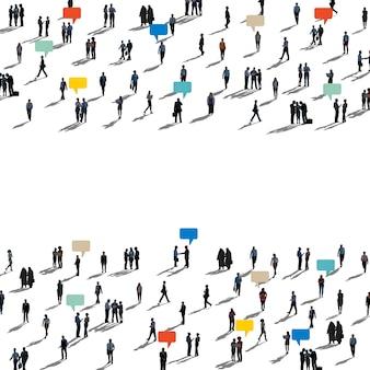 多様な人々のシルエット通信接続