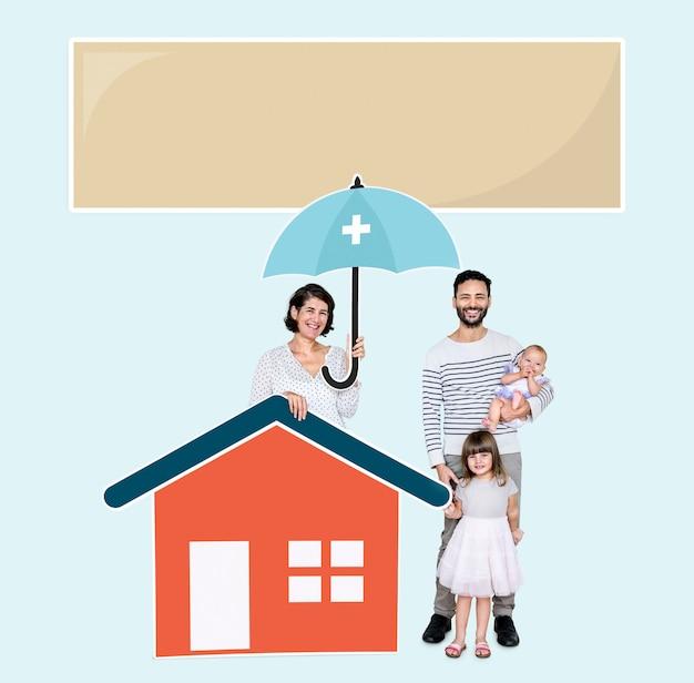 安全な家に住む家族