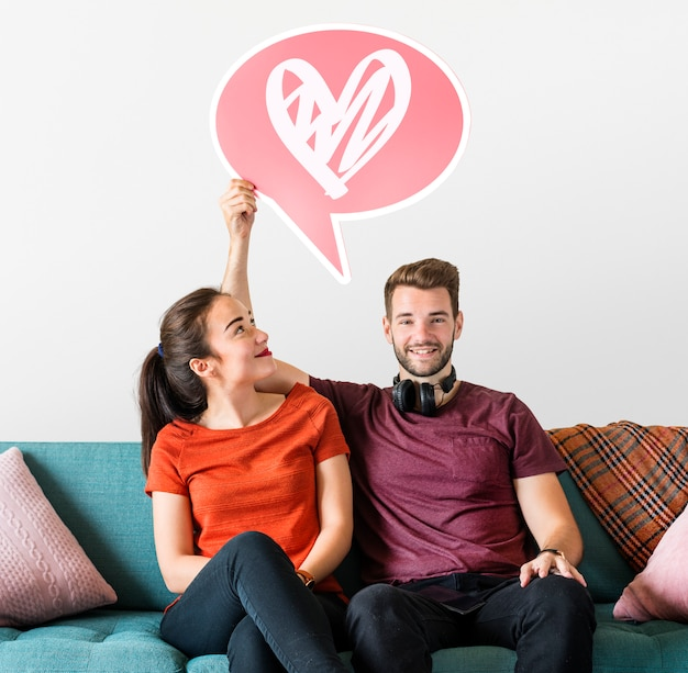Веселая пара, проведение речи пузырь с иконой сердца