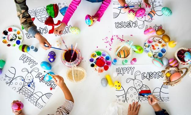 学生アートクラス絵画イースターのウサギ想像力学習
