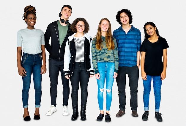 Разнообразие друзья вместе студийный портрет