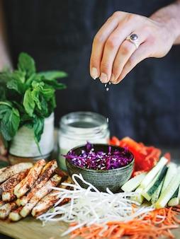 夏巻き用の新鮮野菜