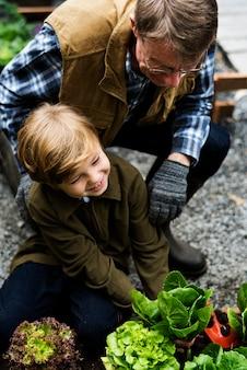 裏庭の庭から野菜を選ぶ家族